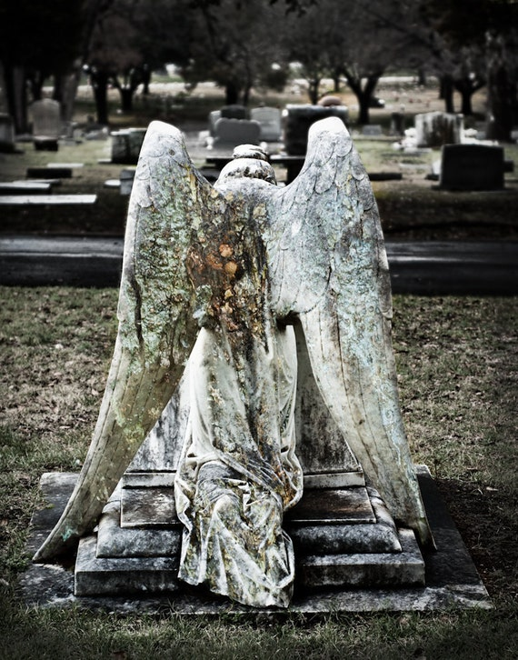 Fine Art Photography, Angel, Cemetery Photo, Angel Wings, Prayer, Condolence, Religious Art, Statue, Grief Gift, Gothic Decor, Wall Art