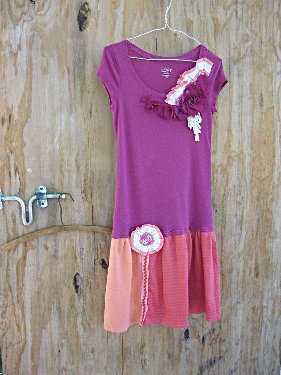 Violet recycled T shirt dress, Purple, Orange Upcycled women's clothing, Drop waist dress,  Mini dress, XS Small