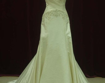 Slimming Ivory Wedding Dress with Straps Custom Made to your Measurements