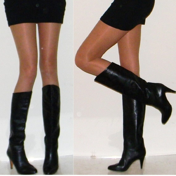 reserved for AMBER until July 8th sz 6 6.5 BEST 70s Italian black leather slouch boots leather sole leather lining  half payment