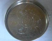 VINTAGE SILVER PLATED Brass Tray Serving Tray Decor Tray Silver Plated Brass Engraved Tray Made In India Fenced Tray Beautiful Serving Tray
