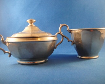 Metal Creamer and Cover Sugar Set Manning Bowman