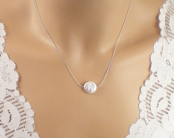 Pearl Necklace, Coin Freshwater Pearl &  Fine Sterling Silver  Chain Necklace