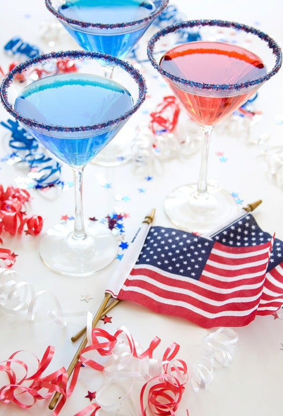 Cocktail rimming sugar / red white and blue colored sugar for election party drinks, July 4th, military graduation, military wedding