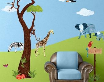 Jungle Tree and Safari Wall Sticker Decals for Nursery and Kid Room - JUMBO SET