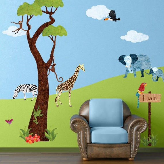 Jungle Tree and Safari Wall Sticker Decals for Kids Room