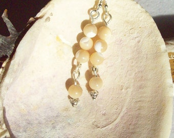 Shell Bead Earrings, White and Tan Shell Beads  ID 121