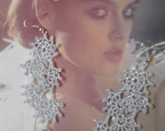 Winter sparkle earrings, Silver lace earrings with teardrops, metallic thread, Christmas Holiday gift Christmas Party Victorian lace jewelry