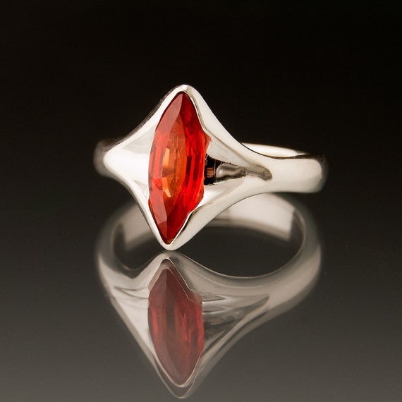 Marquise Tangerine Orange Sapphire Engagement Ring in Silver