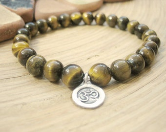 Mens Om Bracelet - Mens Tigers Eye Bracelet with Silver Charm, Bohemian Mens Gift, Yoga Beads