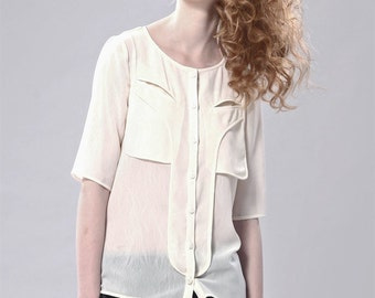 SALE 50% - Chiffon Blouse With Drape Detail Back