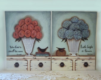 Vintage inspired floral prints. Pink roses, blue hydrangeas, milk glass vases. Cottage flowers, quotes, books, birds, by Donna Atkins.