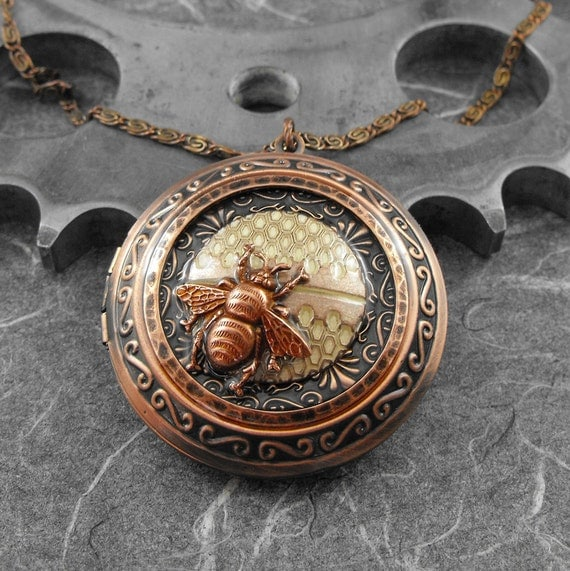 Honeycomb Bee Copper Locket Necklace - Sweetness of the Bumblebee by COGnitive Creations