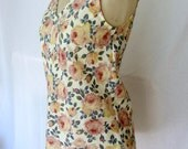 Medium Floral Shabby Chic Cotton Tank Top Bias Cut Womens Pink and Yellow V Neck Rose Print Blouse