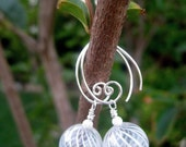 White Ribbon Earrings - Lovely Venetian-Style Hand-Blown Glass, Sterling Stardust Beads, Blue Prism Crystals & Handmade Sterling Ear Wires