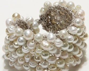 Freshwater Pearl Wide Statement Cuff Bridal Wedding Bracelet, JUST  PEARLS, Ivory, White, Cream, Original Exclusive,  Sereba Designs, Etsy