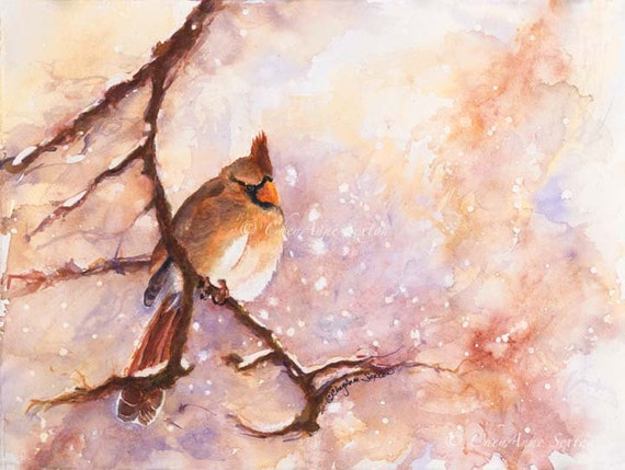 Cardinal Bird Art - MAGICAL Winter Female Cardinal - Snowy Day - Watercolor Giclee Print 8x10