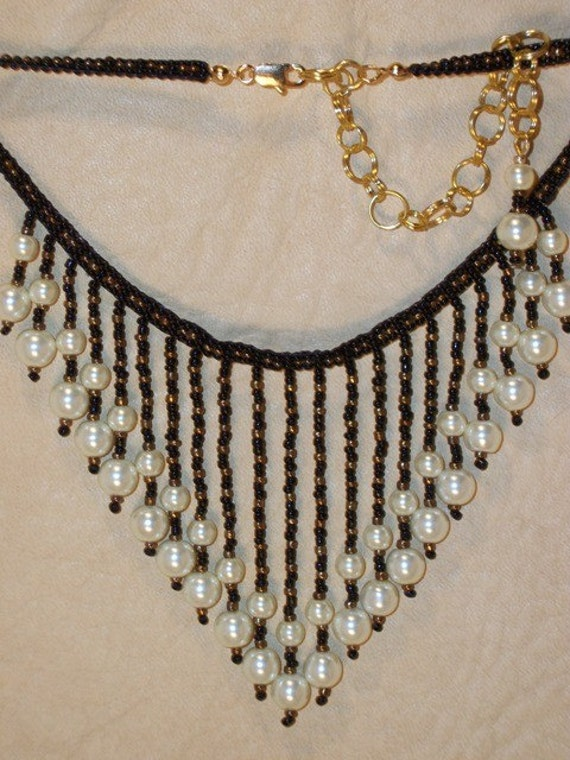 Pearl Black & Brass Beaded Bib Necklace LOVELY Gift ideas for her
