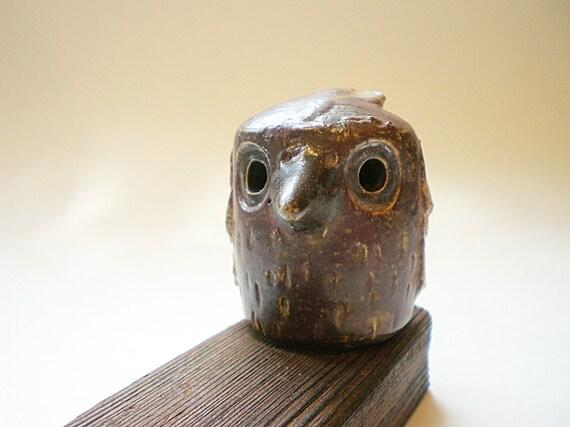 Miniature ceramic owl, Wee Vintage Owl Figurine on Wood