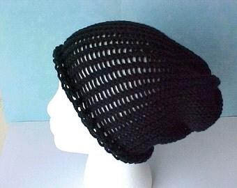 Sale Black Slouchy Beanie knit black hat super slouchy beanie oversized beanie retro urban fashion women teen hat by Peace Stitch Studio