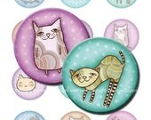 Images for print. Cats 2x2'' circles Digital Collage Sheet for magnets, hang tags, embellishements, badges, toppers, party  favors etc