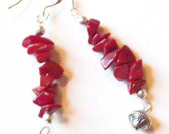 Red Stone Earrings with Silver Spacer Bead Dangles   ID 173