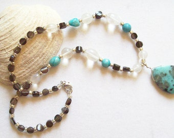 Turquoise Teardrop Necklace Quartz Crystal and Shell Beads   ID 031