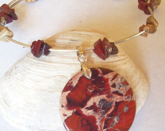 Agate Necklace Red Honey Agate Disc and Rhodonite on Memory Wire.  ID 110