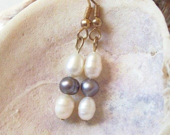 White Pearl Earrings with Grey Pearls ID 087
