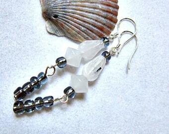 Zebra Jasper Earrings, with Snow Quartz and Smoky Seed Beads  ID 243