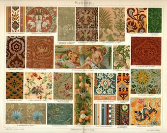 Antique Vintage 1894 LARGE Design Chromolithograph, European and Asian Ornamental Fabrics 1800s art German color lithograph
