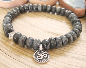 Om Bracelet - Larvikite Bracelet with Herkimer Diamond Quartz and Silver Om Charm, Black Moonstone
