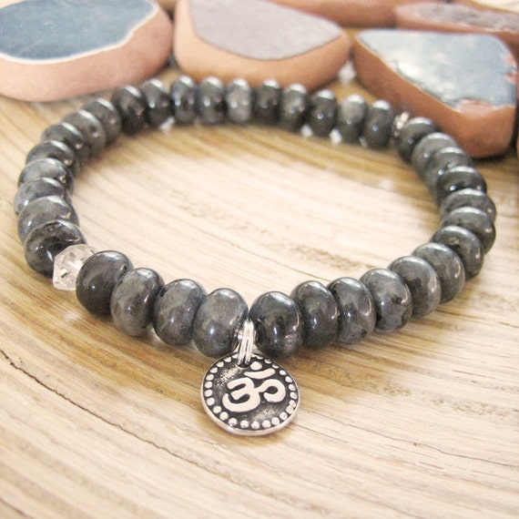 Om Bracelet - Larvikite Bracelet with Herkimer Diamond Quartz and Silver Om Charm, Black Moonstone