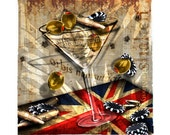 007 James Bond Martini Art Casino Royale Art Bullet Rolex Martini by Rosie Augustine.