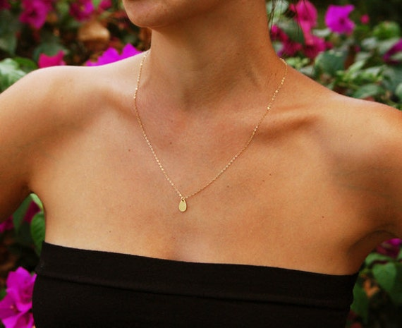 gold necklace drop necklace tiny pendant necklace