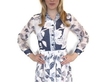 1960's Vintage Navy and White Long Dress with Long Sleeves, blue, floral beauty