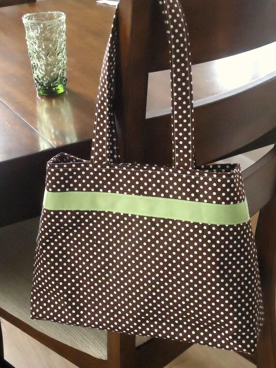 Brown and White Polka Dot Purse for Summer, Cotton Purse, Handbag, Vegan