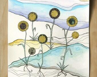 STUDIO SALE Dad's Sunflowers - Original Painting