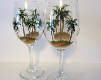 2 Hand Painted  Palm Tree Wine Glasses