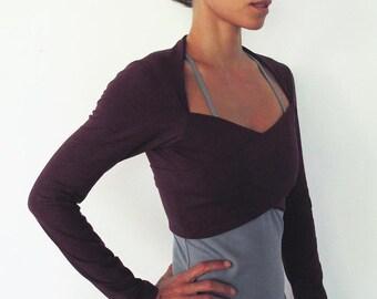 ON SALE 50%! Multi tie wrap around bolero top. Yoga clothes - dance wear - fitness. Burgundy Size M