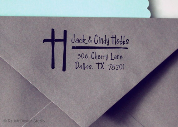 Custom Initial Address Stamp 104 - Personalized Return Address Stamp, Monogram Custom Address Stamp, Family Stamp