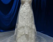 Flattering Lace Wedding Dress with Vintage Inspired Lace and Straps Custom Made to your Measurements