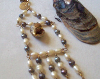 Pearl Fringe Necklace With Gold highlighted Sea Shell  Bib Necklace  ID 088
