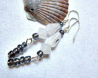 Zebra Jasper Earrings, with Snow Quartz and Smoky Seed Beads  ID 243
