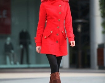 ON SALE Size M Red Coat Fitted Military Style Wool Winter Coat Women Coat Long Jacket - NC258-4