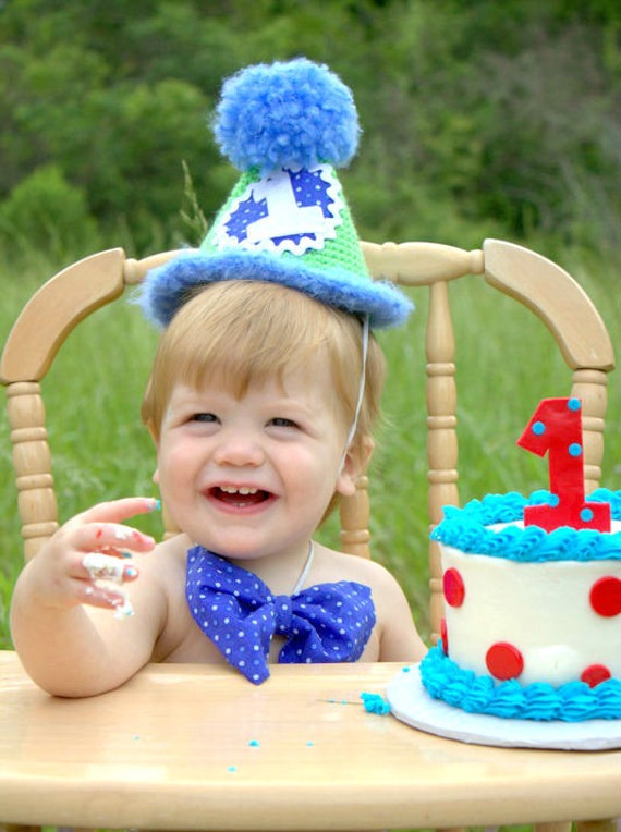 Smash Cake Ideas For 1st Birthday Boy : Boys 1st Birthday Outfit Blue & Green Hat and Bow Tie Boys