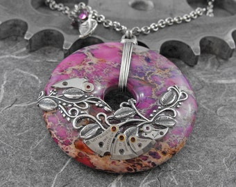 Steampunk Purple Vines Necklace - The Inner Workings of Nature by COGnitive Creations