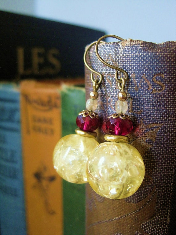 Ruby-Gold Earrings - One-of-a-Kind, All Vintage: Crackle Beads, Czech Glass, Filigree Bead Caps, Shell Beads / Aid Doctors without Borders