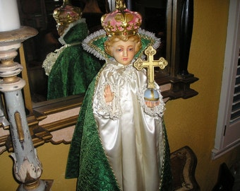 "Vintage Divine Huge,Ornate Religious/Spiritual Church Santos Infant of Prague European/Belgium Renaissance Church Altar Icon 26"""