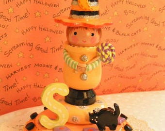 Personalize Halloween Cake Topper Candle Holder Kids Cute Little Boys Babys 1st 2nd 3rd Birthday One Decoration Clay Wood Black Cat Orange